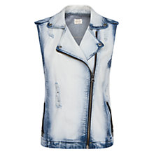 Buy Mango Denim Biker Gilet, Bleach Online at johnlewis.com