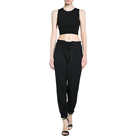 Buy Mango Cropped Top, Black Online at johnlewis.com