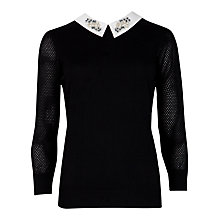 Buy Ted Baker Helane Embellished Collar Jumper, Black Online at johnlewis.com
