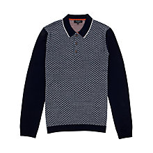Buy Ted Baker Racecot Knitted Long Sleeve Polo Top, Navy Online at johnlewis.com