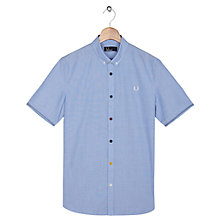 Buy Fred Perry Coloured Button Short Sleeve Shirt, Turquoise Online at johnlewis.com