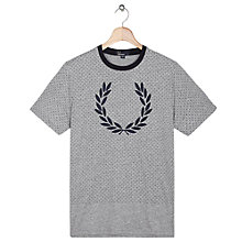 Buy Fred Perry Vintage Flocked Logo T-Shirt, Vintage Steel Online at johnlewis.com