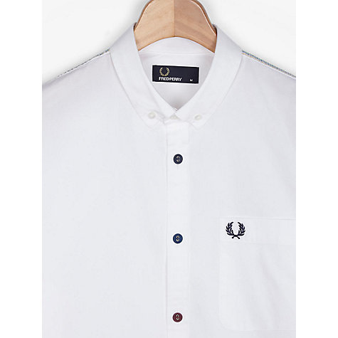 Buy Fred Perry Coloured Button & Stitch Shirt, White Online at johnlewis.com
