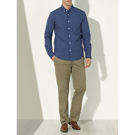 Buy John Lewis Mini Grid Check Oxford Shirt, Blue Online at johnlewis.com