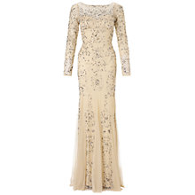 Buy Adrianna Papell Long Sleeve Beaded Dress, Cream Online at johnlewis.com