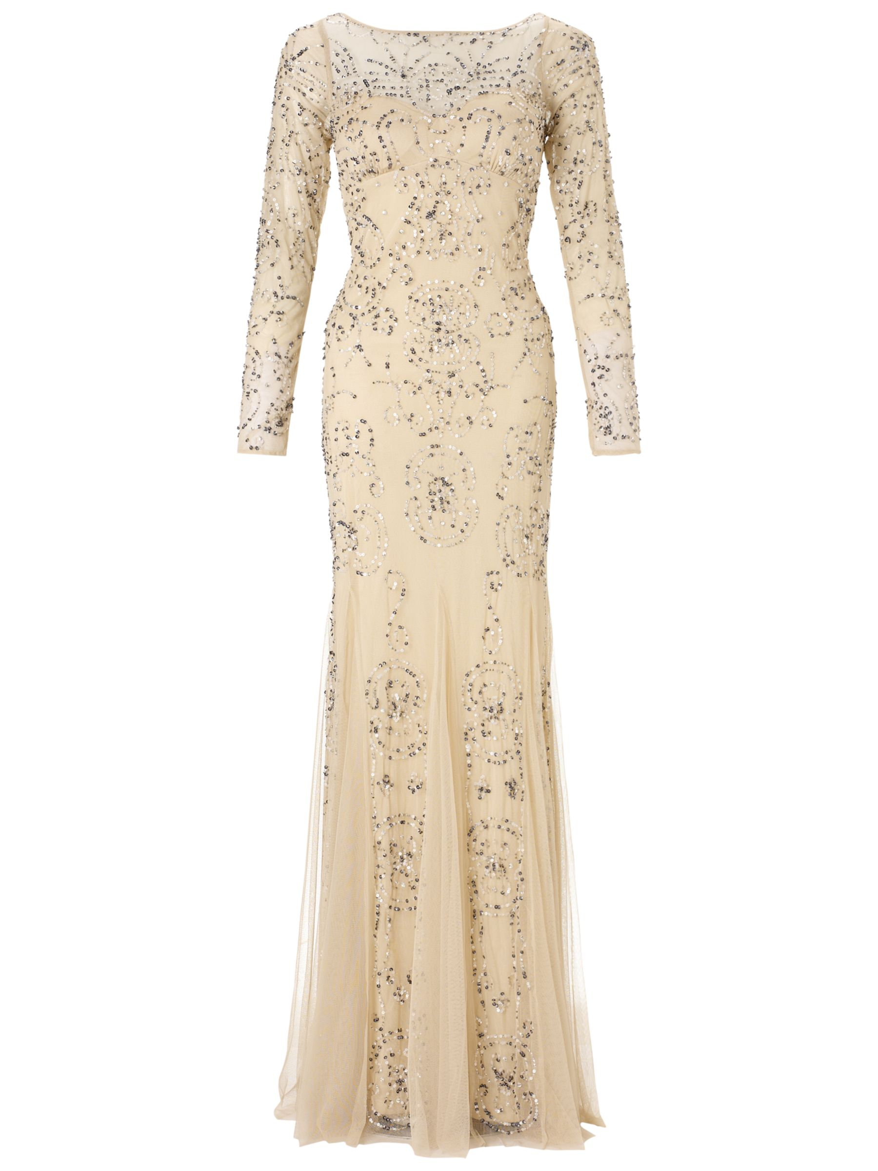 Adrianna Papell Long Sleeve Beaded Dress, Cream