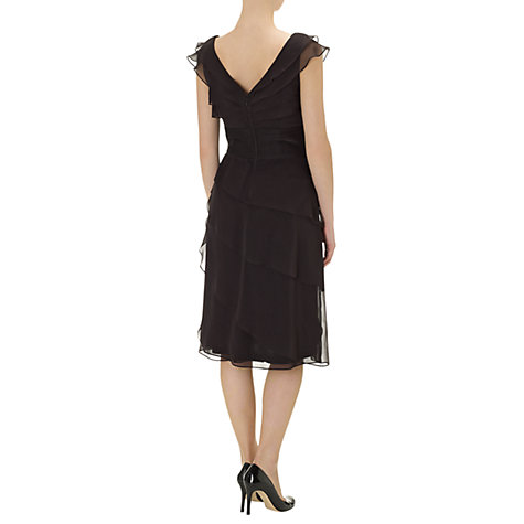 Buy Adrianna Papell Irridescient Tiered Petal Dress, Black Online at johnlewis.com