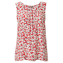 Buy Jigsaw Anemone Print Silk Top, Red Online at johnlewis.com