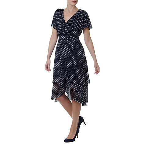 Buy Adrianna Papell Chiffon Polka Dot Dress, Navy Online at johnlewis.com