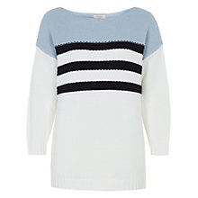 Buy Hobbs Britany Jumper, Pastel Blue/White Online at johnlewis.com
