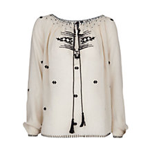 Buy Mango Ethnic Embroidered Blouse, Natural White Online at johnlewis.com