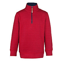 Buy John Lewis Boy Funnel Neck Sweatshirt, Red/Navy Online at johnlewis.com