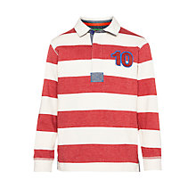 Buy John Lewis Boy Melange Striped Long Sleeve Rugby Shirt, Red/Cream Online at johnlewis.com