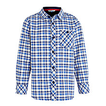 Buy John Lewis Boy Long Sleeved Check Oxford Shirt, Blue/White Online at johnlewis.com
