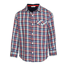 Buy John Lewis Boy Twill Check Long Sleeved Shirt, Blue/Red Online at johnlewis.com