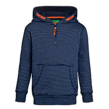 Buy John Lewis Boy Stripe Half Zip Hoodie, Navy Online at johnlewis.com