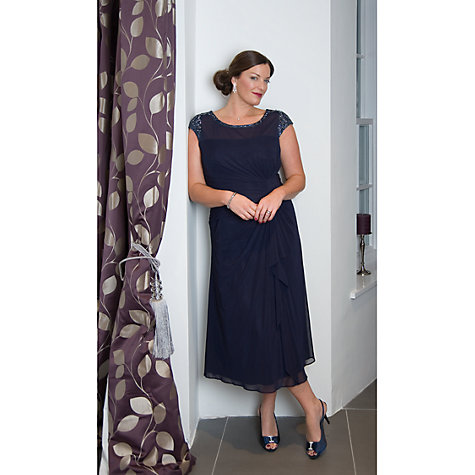 Buy Chesca Sequin Trim Mesh Dress, Navy Online at johnlewis.com