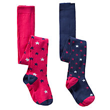 Buy John Lewis Girl Star Tights, Pack of 2, Pink/Navy Online at johnlewis.com