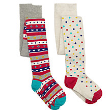 Buy John Lewis Girl Fair Isle/Spotty Tights, Pack of 2, Multi Online at johnlewis.com
