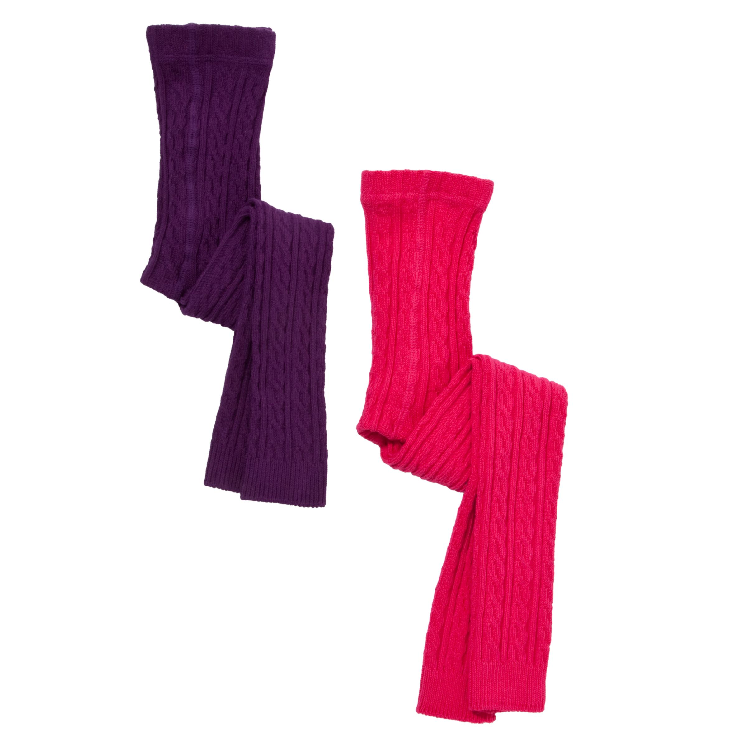 John Lewis Girl Cable Knit Footless Tights, Pink/Purple