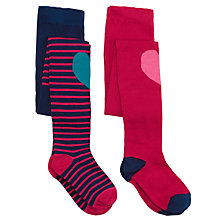 Buy John Lewis Girl Heart Knee Patch Tights, Pack of 2, Multi Online at johnlewis.com