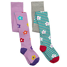 Buy John Lewis Girl Bold Floral/Stripe Tights, Pack of 2 Online at johnlewis.com