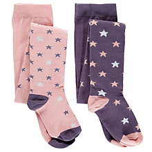 Buy John Lewis Girl Pastel Star Tights, Pack of 2, Pink/Purple Online at johnlewis.com