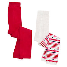 Buy John Lewis Girl Fair Isle Footless Tights, Pack of 2, Red Online at johnlewis.com