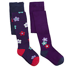 Buy John Lewis Girl Bold Floral/Stripe Tights, Pack of 2, Multi Online at johnlewis.com