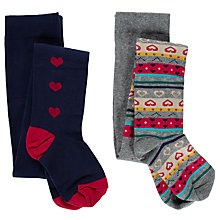 Buy John Lewis Girl Fair Isle & Heart Tights, Pack of 2, Multi Online at johnlewis.com