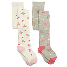 Buy John Lewis Girl Vintage Floral Tights, Pack of 2, Multi Online at johnlewis.com