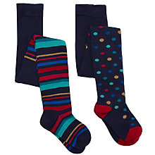 Buy John Lewis Girl Spot and Stripe Tights, Pack of 2, Multi Online at johnlewis.com
