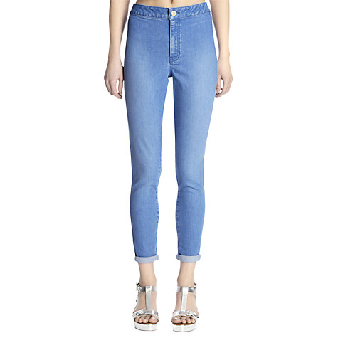 Buy Warehouse High Rise Turn Up Jeans, Bright Blue Online at johnlewis.com