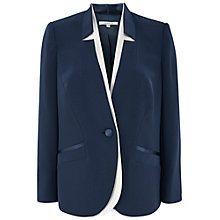Buy Chesca Notch Neck Satin Back Jacket, Navy Online at johnlewis.com