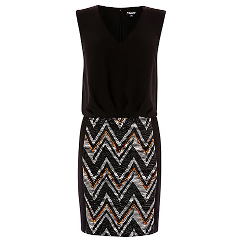 Buy Warehouse Chevron Skirt Soft Top Dress, Black Online at johnlewis.com