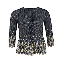 Buy Chesca Spot Crush Pleated Blouse, Navy Online at johnlewis.com