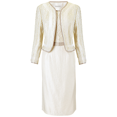 Gina Bacconi Guipure Shimmer Dress And Jacket, Cream Mist