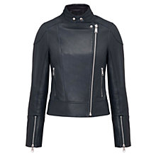 Buy Whistles Kat Leather Biker Jacket, Navy Online at johnlewis.com