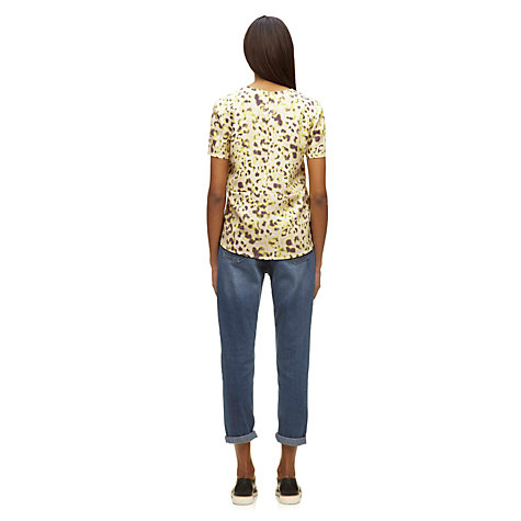 Buy Whistles Brushed Fur Sculptured T-Shirt, Yellow Online at johnlewis.com