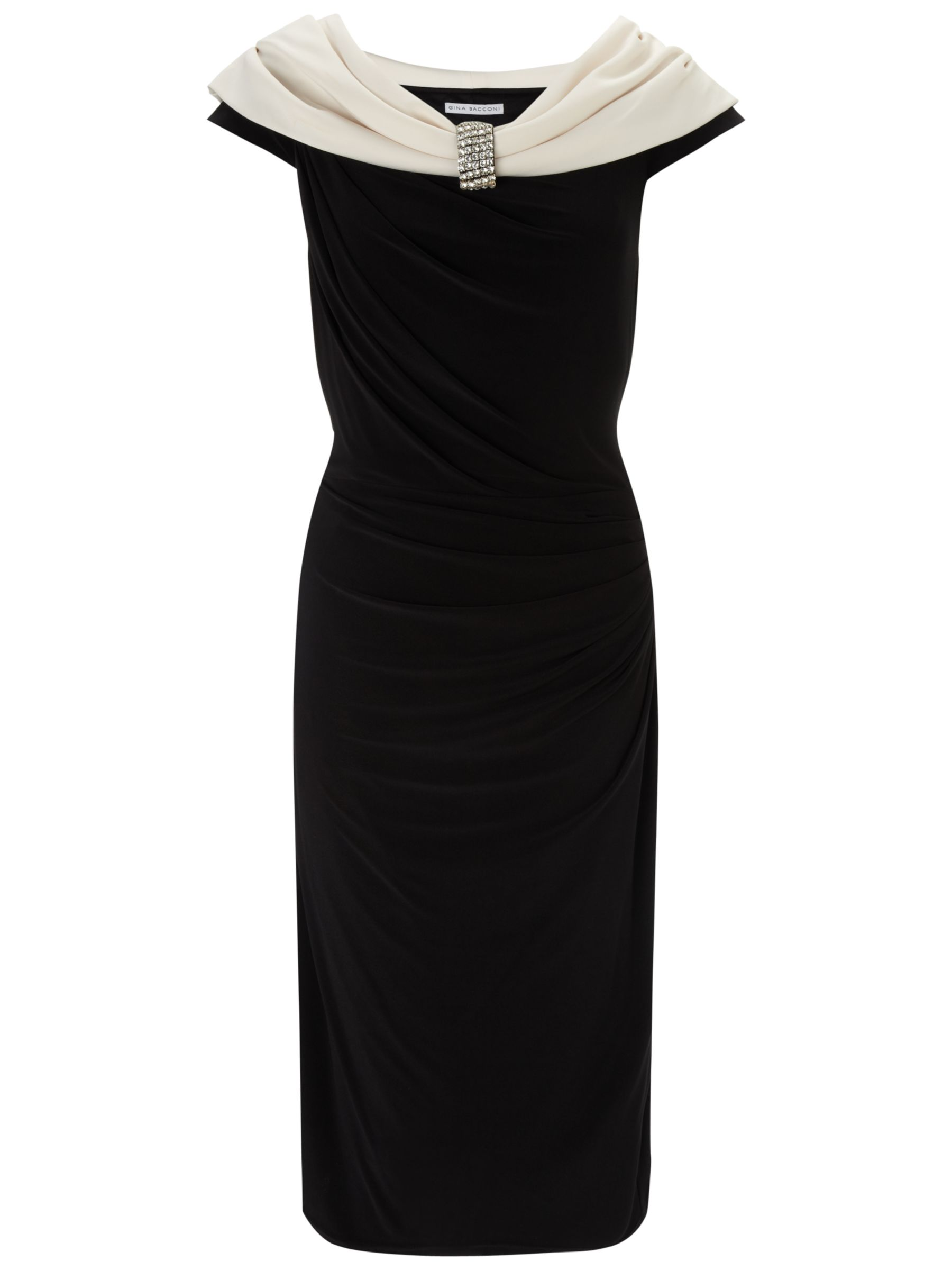 Gina Bacconi Jersey Beaded Dress, Black
