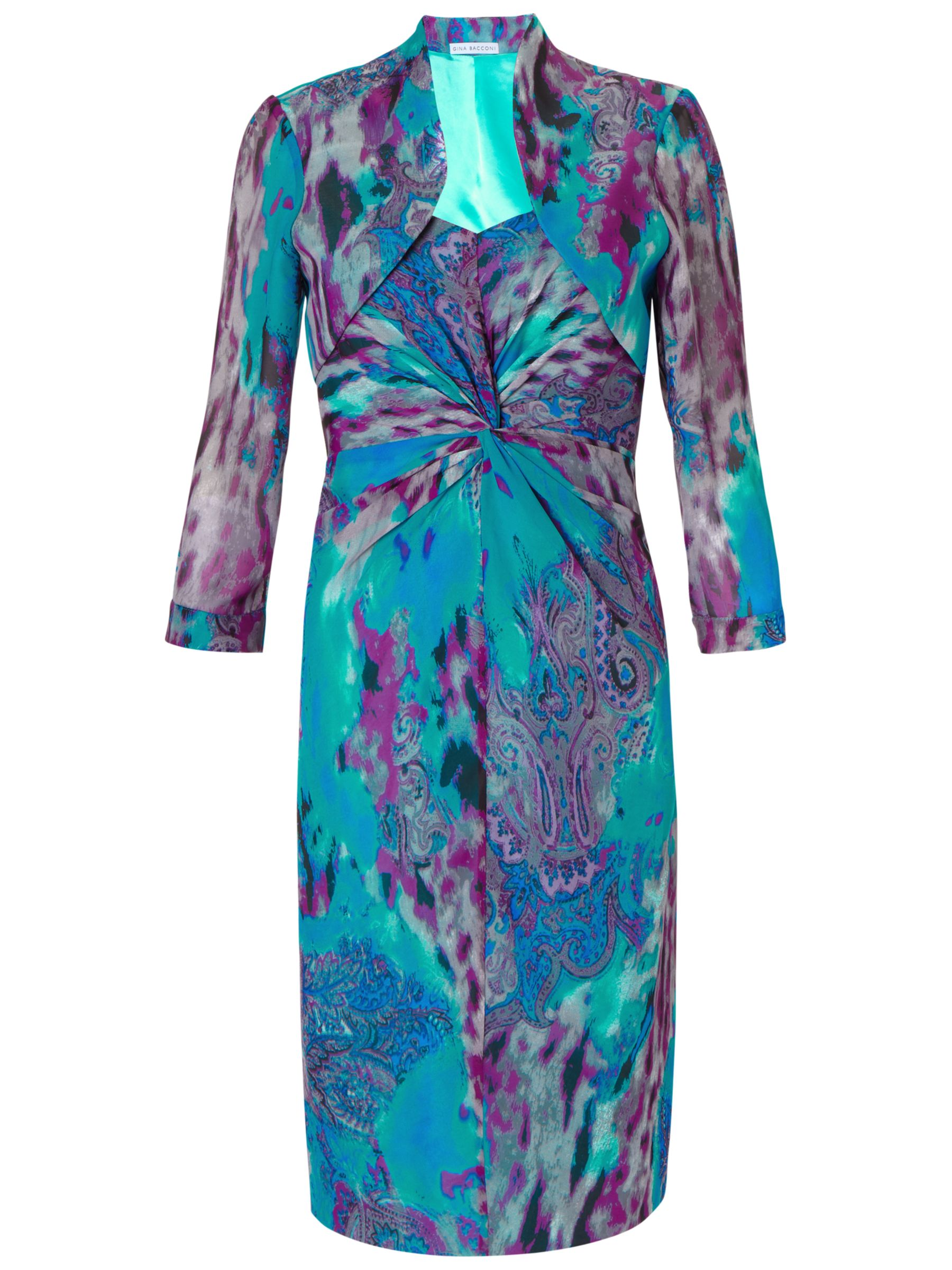 Gina Bacconi Paisley Chiffon Dress And Bolero, Turquoise