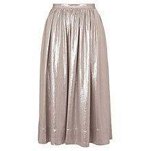 Buy Whistles Daisy Foil Midi Skirt, Silver Online at johnlewis.com