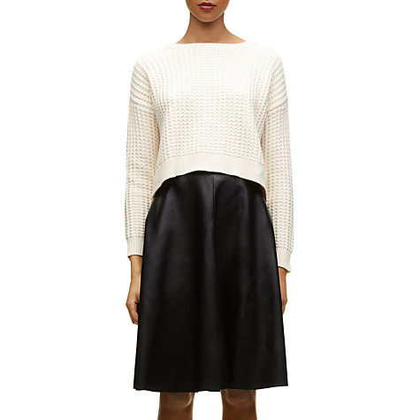 Buy Whistles Willa Cropped Stitch Knit Jumper, Ivory Online at johnlewis.com