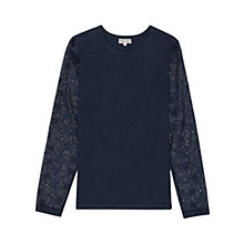 Buy Reiss Flora Lace Sleeve Jumper, Blue Online at johnlewis.com