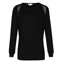Buy Reiss Lilia Mesh Panel Jumper, Black Online at johnlewis.com
