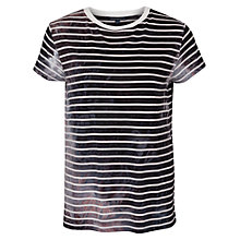 Buy French Connection Amelia Stripe T-Shirt, Black/White Online at johnlewis.com