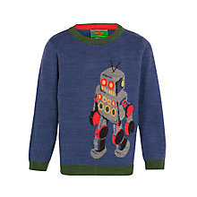 Buy John Lewis Boy Robot Jumper, Blue Online at johnlewis.com