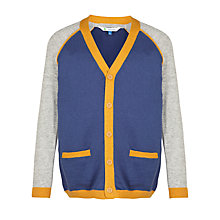 Buy John Lewis Boy Panelled Cardigan, Blue/Yellow Online at johnlewis.com