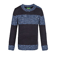 Buy John Lewis Boy Textured Stripe Jumper, Navy/Blue Online at johnlewis.com