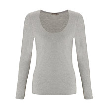 Buy Jigsaw Double Front Scoop Top, Grey Online at johnlewis.com